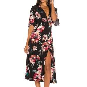 NWOT 1.STATE Floral Black Wrap Dress--Small